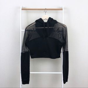 Missguided Mesh Panel Athleisure Cropped Hoodie